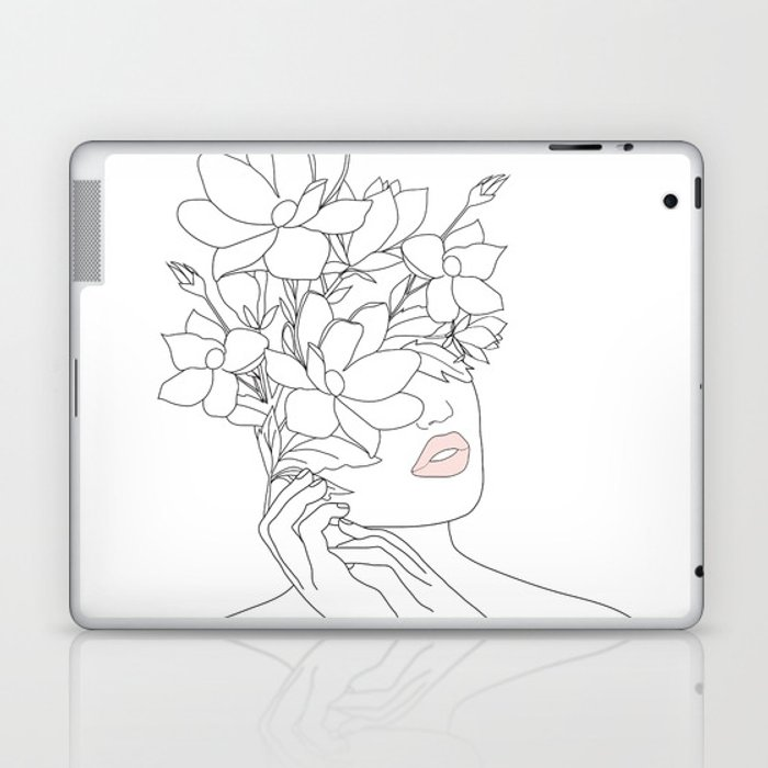 Minimal Line Art Woman with Magnolia Laptop & iPad Skin
