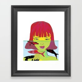 """Redhead Worry"" Paulette Lust's Original, Contemporary, Whimsical, Colorful Art Framed Art Print"