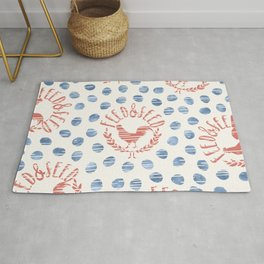 Shabby Farmhouse Rooster Faux Vintage Advertising Sign Coral Blue Beige Rug