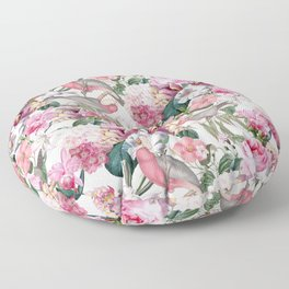 Vintage & Shabby Chic -Pink Parrots And Flowers  Floor Pillow