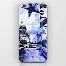 Berlin urban blue mixed media art iPhone & iPod Skin