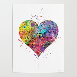Heart Watercolor Art Print Love Home Decor Valentine's Day Wedding or Engagement Gift Poster