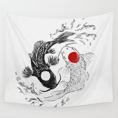 Koi fish ying yang Wall Tapestry