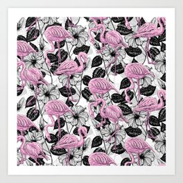 Flamingos and hibiscus flowers Art Print