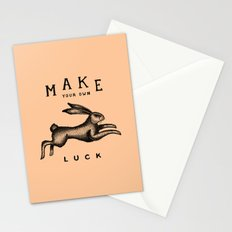 MAKE YOUR OWN LUCK (Coral) Stationery Cards