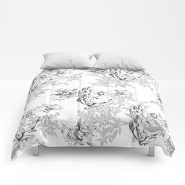 PEACOCK LILY TREE AND LEAF TOILE GRAY AND WHITE PATTERN Comforters