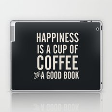 Happiness is a cup of coffee and a good book, vintage typography illustration, for libraries, pub Laptop & iPad Skin