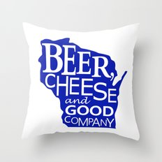 Blue and White Beer, Cheese and Good Company Wisconsin Graphic Throw Pillow