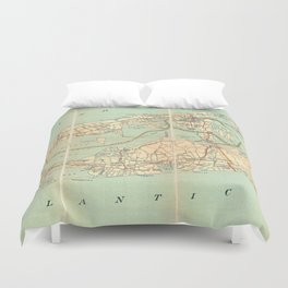 Vintage Road Map of Long Island (1905) Duvet Cover