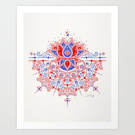 Sacred Lotus Mandala – Red & Blue Palette Art Print