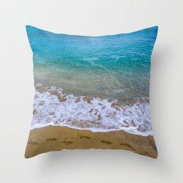 A walk on the beach Throw Pillow