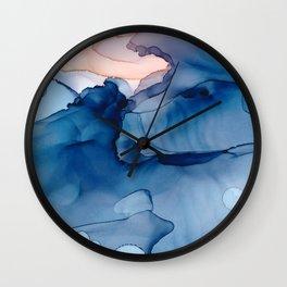 Hallowed Fluid ink abstract watercolor Wall Clock