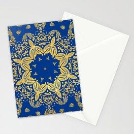 golden mandala on the dark blue background Stationery Cards