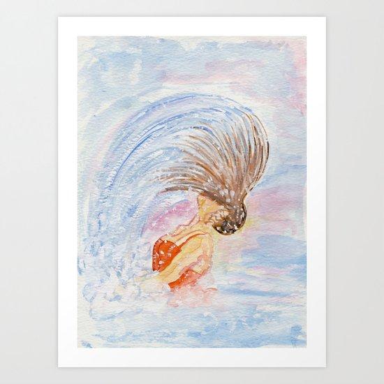 Swimmer - Hair Splash Art Print