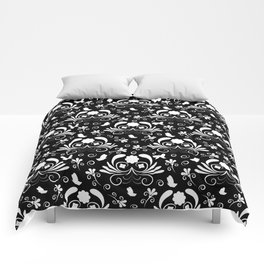 Abstract floral black and white Comforters