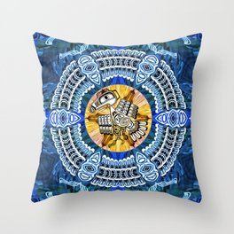 Raven Steals the Sun Pacific Northwest Coast Native Psychedelic Mandala Throw Pillow