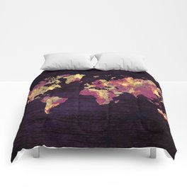 world map 86 red yellow Comforters