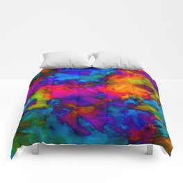 Vibrant Abstract Color Explosion  Comforters