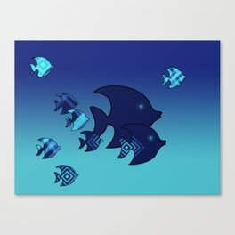 Nine Blue Fish with Patterns Canvas Print