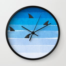 Sharks - shark week trendy black and white minimal kids pattern print ombre blue ocean surfing  Wall Clock