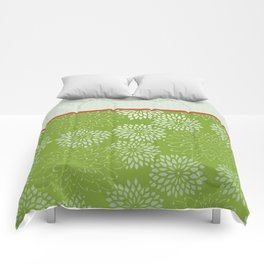 Dahlia Scallops Green and Orange Comforters