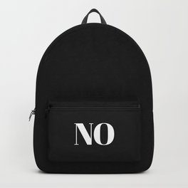 NO in black Backpack