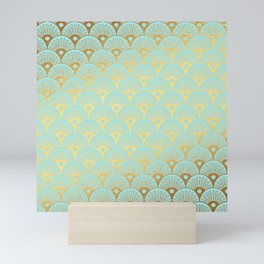 Art Deco Mermaid Scales Pattern on aqua turquoise with Gold foil effect Mini Art Print