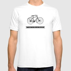 bicycle White MEDIUM Mens Fitted Tee
