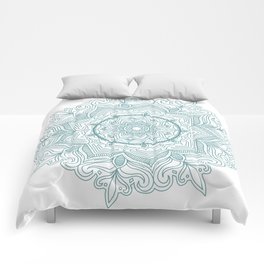 Teal Flower Mandala Comforters
