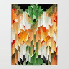 Geometric Tiled Orange Green Abstract Design Poster