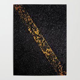 Old Yellow painted line on asphalt road Poster