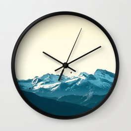 turquoise mountainscape Wall Clock