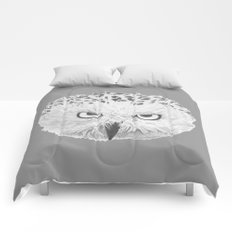 Snowy Owl Grey Comforters