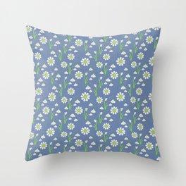 Snowdrop Galanthus vector seamless pattern Throw Pillow