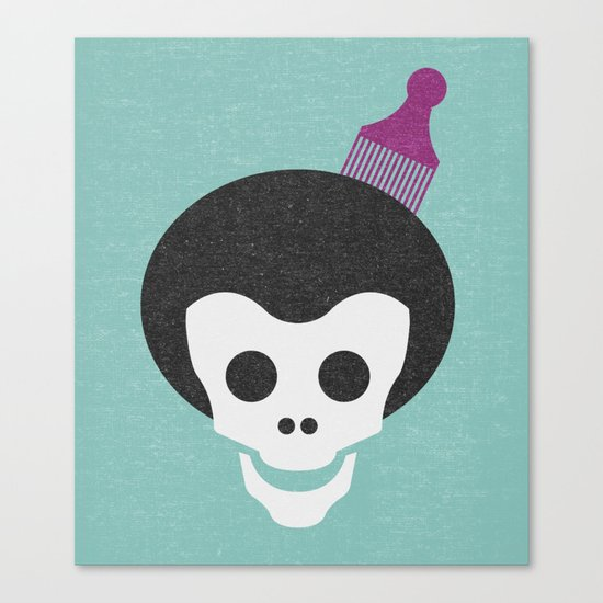 Skull with Fro. Canvas Print