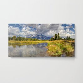 The Grand Tetons Autumn Panorama Metal Print