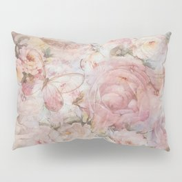 Vintage elegant blush pink collage floral typography Pillow Sham