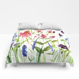 Botanical Colorful Flower Wildflower Watercolor Illustration Comforters