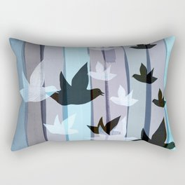 Flying birds in the wood Rectangular Pillow