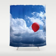 Red on Blue Shower Curtain
