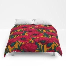 Red poppy garden Comforters
