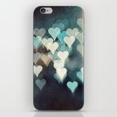 Heart Photography, Abstract Teal Turquoise Hearts iPhone & iPod Skin