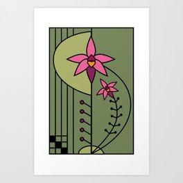 Art Deco Native Orchid Art Print