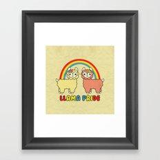 Cute Kawaii Llama Pride Rainbow Framed Art Print
