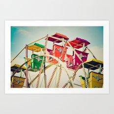 Colorful Ferris Wheel Cars Art Print