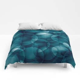 Dark intersecting heavenly translucent circles in bright colors with the blue glow of the ocean. Comforters
