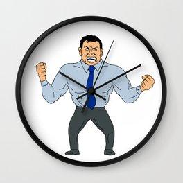 Angry Businessman Cartoon Wall Clock
