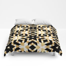 Art Deco Gold Foil Star Pattern Comforters