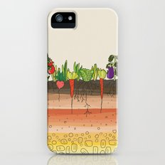 Earth soil layers vegetables garden cute educational illustration kitchen decor print iPhone (5, 5s) Slim Case