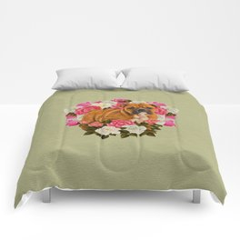 English Bulldog Puppy with flowers Comforters